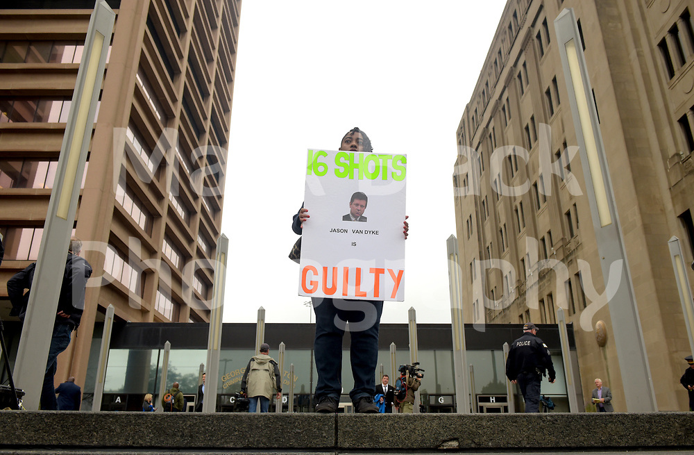 Rena Shepherd of Chicago stands at the top of the stairs outside the Leighton Criminal Court Building after the jury trial of Chicago Police officer Jason Van Dyke in the shooting death of teenager Laquan McDonald in 2014, in Chicago, Illinois, USA, 05 October 2018. Van Dyke was found guilty of second degree murder and 16 counts of aggravated battery. The shooting sparked protests and demonstrations across the city.