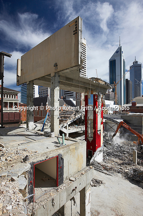 Demolition work at the Cinema City site corner of Hay and Barrack Streets