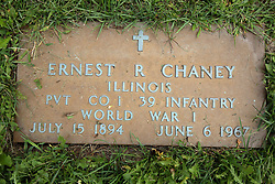 31 August 2017:   Veterans graves in Park Hill Cemetery in eastern McLean County.<br /> <br /> Ernest R Chaney  Illinois  Private Co I  39 Infantry  World War I  July 15 1894  June 6 1967