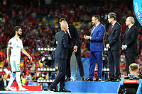 KIEV, UKRAINE - MAY 26: Zinedine Zidane, Manager of Real Madrid receives his medal after the UEFA Champions League final between Real Madrid and Liverpool at NSC Olimpiyskiy Stadium on May 26, 2018 in Kiev, Ukraine. (MB Media)