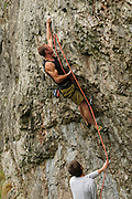 Sam Whittaker firing the guns on Minos, 7c+, Two Tier Butress, Chee Dale