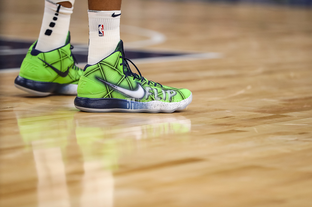 Feb 15, 2018; Minneapolis, MN, USA; The shoes of Minnesota Timberwolves center Karl-Anthony Towns (32) honoring former coach Flip Saunders during the fourth quarter against the Los Angeles Lakers at Target Center. Mandatory Credit: Brace Hemmelgarn-USA TODAY Sports