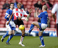 Photo: Jonathan Butler.<br />Southampton v Ipswich Town. Coca Cola Championship. 24/02/2007.<br />John Viafara of Southampton competes for the ball with Matthew Richards of Ipswich Town.