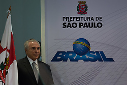 August 7, 2017 - Sao Paulo, Sao Paulo, Brazil - Brazilian President MICHEL TEMER takes part in the signing ceremony to transfer a part of the Campo de Marte Airport for the Sao Paulo City Hall which intends to build a park with about 400 thousand square meters that should be the third largest in the city. (Credit Image: © Paulo Lopes via ZUMA Wire)