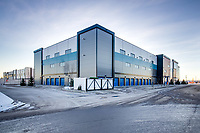 Commercial advertising photography at the Bluebird Self Storage construction project in SE Calgary. Exterior architectural photos for portfolio and advertising usage by Canam Builders and the owners of the building.<br /> <br /> ©2020, Sean Phillips<br /> http://www.RiverwoodPhotography.com