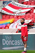 Doncaster Rovers midfielder Anthony Greaves (27) in front of Doncaster Rovers bunting and flags prior to the EFL Sky Bet League 1 match between Doncaster Rovers and Charlton Athletic at the Keepmoat Stadium, Doncaster, England on 2 April 2021.