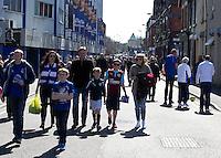 Fans gather out side the ground before the kick off<br /> <br /> Photographer Stephen White/CameraSport<br /> <br /> Football - Barclays Premiership - Everton v Burnley - Saturday 18th April 2015 - Goodison Park - Everton<br /> <br /> © CameraSport - 43 Linden Ave. Countesthorpe. Leicester. England. LE8 5PG - Tel: +44 (0) 116 277 4147 - admin@camerasport.com - www.camerasport.com