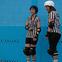 Debut skaters take part in their first competitive roller derby bout at Salford University Sports Hall, 2018-06-16