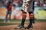 San Francisco Giants right fielder Hunter Pence (8) slides into first base against the Arizona Diamondbacks at AT&T Park in San Francisco, California, on August 6, 2017. (Stan Olszewski/Special to S.F. Examiner)