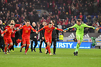 Football - 2019 / 2020 UEFA European Championships Qualifier - Group E: Wales vs. Hungary<br /> <br /> Aaron Ramsey of Wales & Gareth Bale of Wales & Wayne Hennessey of Wales  celebrates after Wales win 2-0 to qualify for Euros 2020, at Cardiff City Stadium.<br /> <br /> COLORSPORT/WINSTON BYNORTH