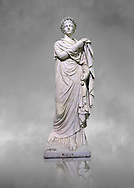 2nd century AD Roman marble sculpture known as 'The Small Women' the so called Flora, copied from a 4th century BC  Hellanistic Greek original,  inv 6404, Naples  Museum of Archaeology, Italy ..<br /> <br /> If you prefer to buy from our ALAMY STOCK LIBRARY page at https://www.alamy.com/portfolio/paul-williams-funkystock/greco-roman-sculptures.html . Type -    Naples    - into LOWER SEARCH WITHIN GALLERY box - Refine search by adding a subject, place, background colour, etc.<br /> <br /> Visit our ROMAN WORLD PHOTO COLLECTIONS for more photos to download or buy as wall art prints https://funkystock.photoshelter.com/gallery-collection/The-Romans-Art-Artefacts-Antiquities-Historic-Sites-Pictures-Images/C0000r2uLJJo9_s0