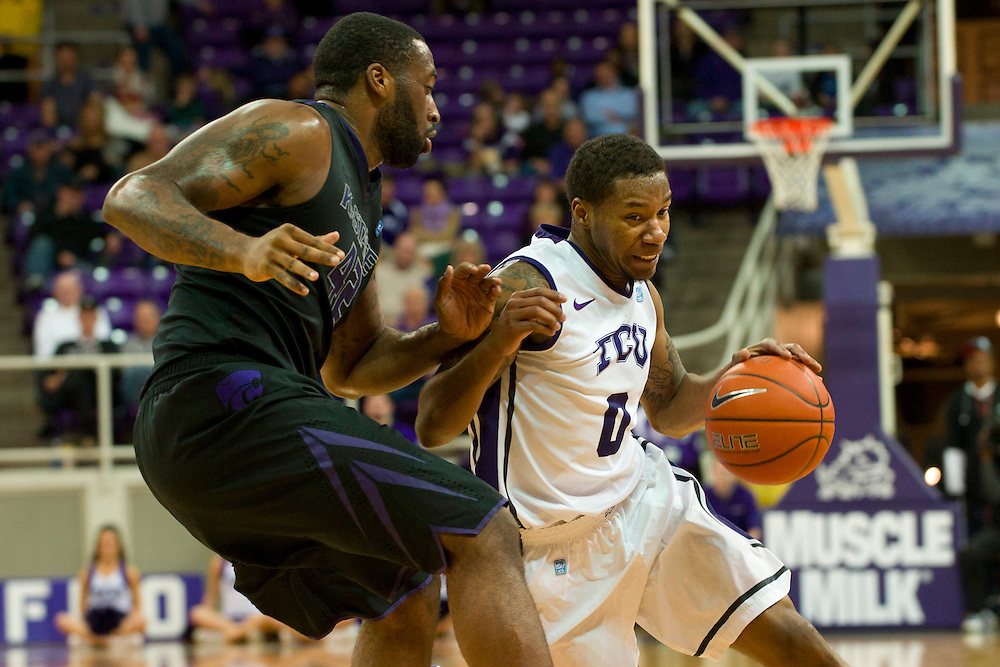 FORT WORTH, TX - JANUARY 7: Charles Hill Jr. #0 of the TCU Horned Frogs drives to the basket against the Kansas State Wildcats on January 7, 2014 at Daniel-Meyer Coliseum in Fort Worth, Texas.  (Photo by Cooper Neill/Getty Images) *** Local Caption *** Charles Hill Jr.