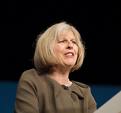 Conservative Party Conference, ICC, Birmingham, Great Britain <br /> Day 3<br /> 9th October 2012 <br /> <br /> Theresa May MP<br /> Home Secretary<br /> keynote speech <br /> <br /> Photograph by Elliott Franks<br /> <br /> United Kingdom<br /> Tel 07802 537 220 <br /> elliott@elliottfranks.com<br /> <br /> ©2012 Elliott Franks<br /> Agency space rates apply