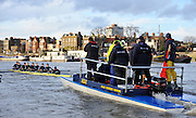 """Putney, GREAT BRITAIN, Umpires Launch KORAT: Oxford UBC, {OUBC} Trial Eights Race  2011  Varsity Trial Eights raced over the championship course, River Thames.. Putney to Mortlake,  Tuesday  12.12.2011  [Mandatory Credit, Peter Spurrier/Intersport-images]..Crews. .NAME OF BOAT: """"High Water"""" Surrey Station.Bow: Julian Bubb-Humfryes.2: Geordie Macleod.3: Justin Webb.4: Hanno Wienhausen.5: Kevin Baum.6: Alexander Davidson.7: Alexander Woods.Stroke: Tom Watson.Cox: Zoe De Toledo"""