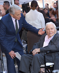 Michael Douglas at the Walk of Fame ceremony honoring Michael Douglas with a star on Hollywood Blvd on November 6, 2018 in Hollywood, CA. 06 Nov 2018 Pictured: Michael Douglas and Kirk Douglas. Photo credit: O'Connor/AFF-USA.com / MEGA TheMegaAgency.com +1 888 505 6342