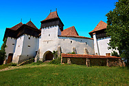 Front view of the Szekly medieval fortified church of Viscri, Buneşti, Braşov, Transylvania. Started in the 1100's. UNESCO World Heritage Site .<br /> <br /> Visit our ROMANIA HISTORIC PLACXES PHOTO COLLECTIONS for more photos to download or buy as wall art prints https://funkystock.photoshelter.com/gallery-collection/Pictures-Images-of-Romania-Photos-of-Romanian-Historic-Landmark-Sites/C00001TITiQwAdS8<br /> .<br /> Visit our MEDIEVAL PHOTO COLLECTIONS for more   photos  to download or buy as prints https://funkystock.photoshelter.com/gallery-collection/Medieval-Middle-Ages-Historic-Places-Arcaeological-Sites-Pictures-Images-of/C0000B5ZA54_WD0s