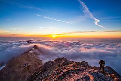 Sunrise on top of Mali Triglav with overview on the Triglav Lodge at Kredarica, on September 11, 2020 in Julian Alps, Slovenia. Photo by Matic Klansek Velej / Sportida