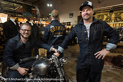 Co-owners Kai Glatt and Michael Kuratli of Rokker Jeans at EICMA, the largest international motorcycle exhibition in the world. Milan, Italy. November 20, 2015.  Photography ©2015 Michael Lichter.