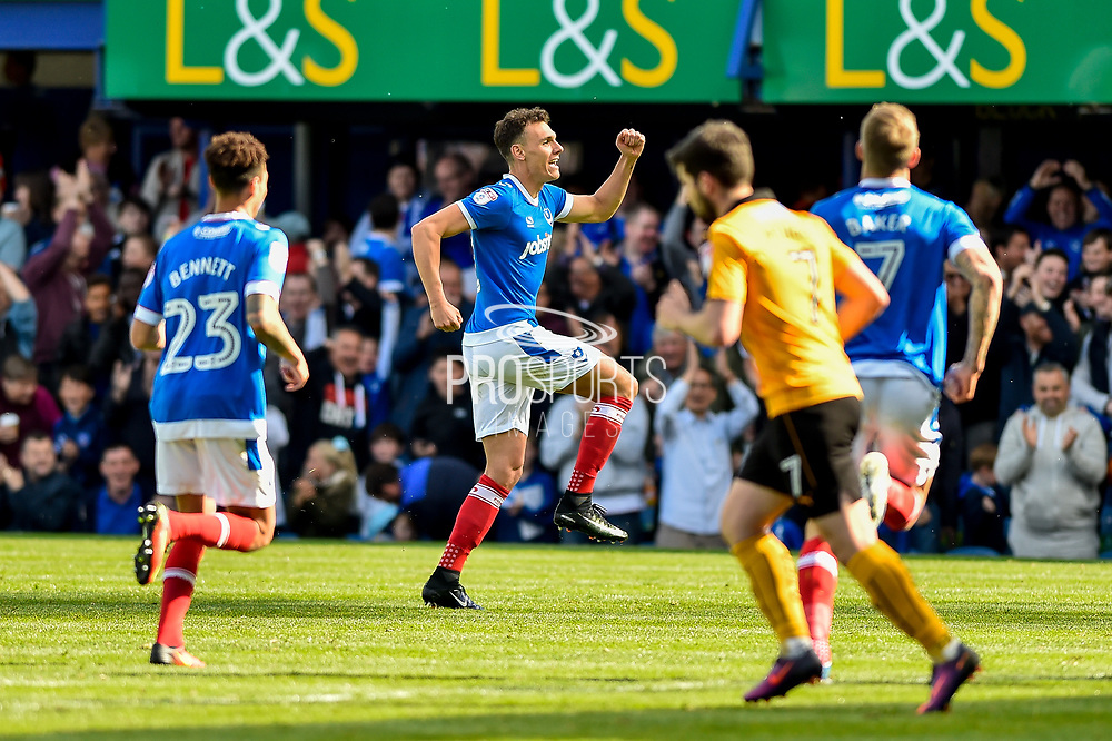Portsmouth Midfielder, Kal Naismith (22) scores a free kick to make it 2-0 and celebrates during the EFL Sky Bet League 2 match between Portsmouth and Cambridge United at Fratton Park, Portsmouth, England on 22 April 2017. Photo by Adam Rivers.
