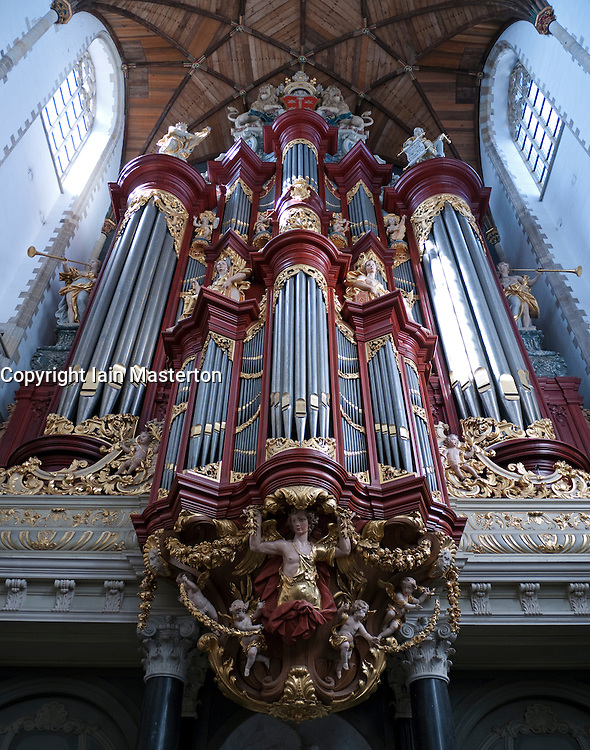 The famous organ in Sint-Bavokerk (or St Bavo's churchl), Haarlem, Netherlands