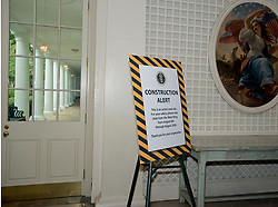 The White House West Wing in Washington, DC is undergoing renovations while United States President Donald J. Trump is vacationing in Bedminster, New Jersey on Friday, August 11, 2017. 11 Aug 2017 Pictured: Sign in the Palm Room of the White House West Wing in Washington, DC as it is undergoing renovations while United States President Donald J. Trump is vacationing in Bedminster, New Jersey on Friday, August 11, 2017. Credit: Ron Sachs / CNP. Photo credit: Ron Sachs - CNP / MEGA TheMegaAgency.com +1 888 505 6342