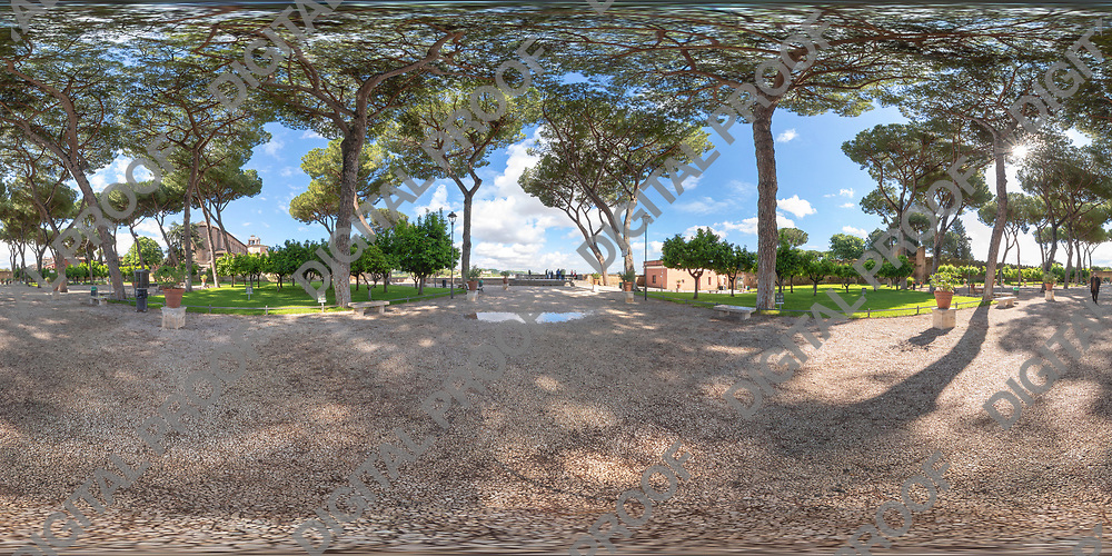 Equirectangular image of The Orange Garden ( Giardino degli Aranci) in Piazza Pietro D'Illiria 00153 Roma