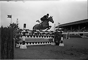 09/08/1962<br /> 08/09/1962<br /> 09 August 1961<br /> RDS Horse Show, Ballsbridge Dublin, Thursday. <br /> Picture show Tommy Wade on Dundrum.