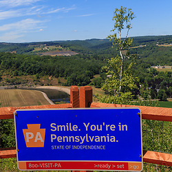 Tioga, PA - July 26, 2016: The lookout area at the Pennsylvania Welcome Center on Route 15, about seven miles from the NY-PA Border.