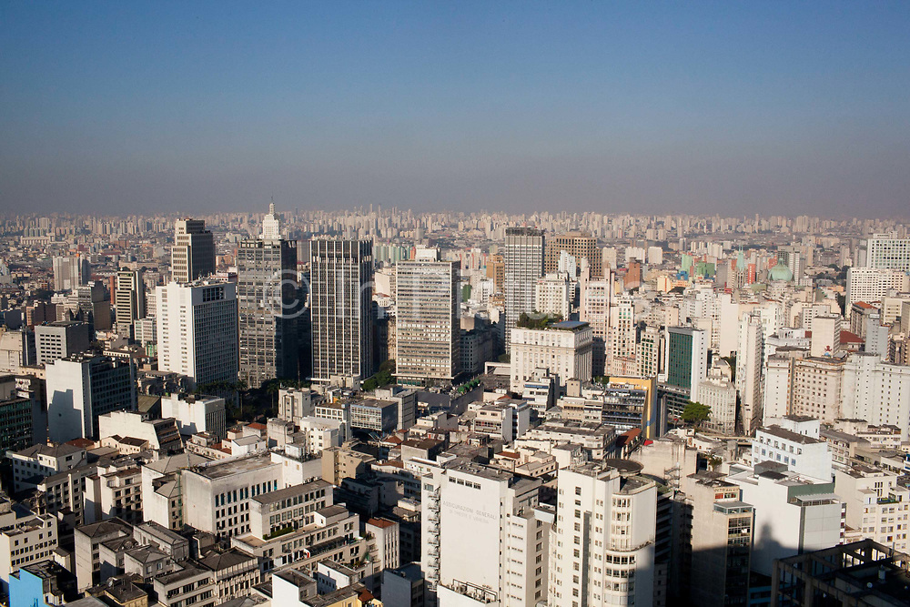 Overhead view of Sao Paulo from Edificio Italia Italy building, showing the skyscrapers and urban sprawl as far as the eye can see, Central Sao Paulo, Brazil.