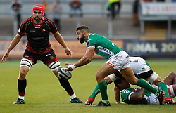 Benetton Treviso's Tito Tebaldi gets the ball away<br /> <br /> Photographer Simon King/Replay Images<br /> <br /> Guinness PRO14 Round 1 - Dragons v Benetton Treviso - Saturday 1st September 2018 - Rodney Parade - Newport<br /> <br /> World Copyright © Replay Images . All rights reserved. info@replayimages.co.uk - http://replayimages.co.uk