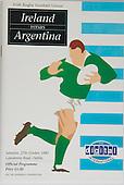 Rugby 27/10/1990 Friendly Ireland Vs Argentina