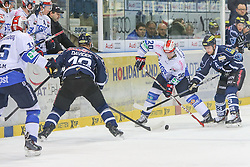 16.01.2015, Saturn Arena, Ingolstadt, GER, DEL, ERC Ingolstadt vs Schwenninger Wild Wings, 39. Runde, im Bild von links: Martin Davidek (Nr10, ERC Ingolstadt), Dan Hacker (Nr.20, Schwenninger Wild Wings) und Derek Hahn (Nr.42, ERC Ingolstadt) // during Germans DEL Icehockey League 39th round match between ERC Ingolstadt and Schwenninger Wild Wings at the Saturn Arena in Ingolstadt, Germany on 2015/01/16. EXPA Pictures © 2015, PhotoCredit: EXPA/ Eibner-Pressefoto/ Strisch<br /> <br /> *****ATTENTION - OUT of GER*****