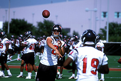 Stock photo of David Carr rhrowing a pass to a teammate during pracitce