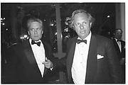 MICHAEL DOUGLAS; GRAYDON CARTER,  at the Vanity Fair Oscar Night Party. Mortons. Los Angeles.  24 March 1997<br /> Copyright Photograph by Dafydd Jones<br /> 66 Stockwell Park Rd. London SW9 0DA<br /> Tel 0171 733 0108