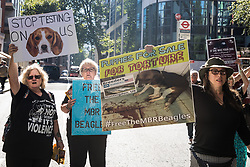 London, UK. 24th September, 2021. Animal rights activists calling for the closure of a site in Huntingdon which rears beagles for animal research protest outside the Home Office. The activists, who are based at a camp close to the MBR Acres site, protested outside the Home Office to call for an immediate review of all animal testing and vivisection and a moratorium on the use of dogs in research.