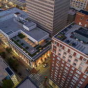 Downtown Kansas City, Missouri, aerial view above 10th Street and Baltimore Avenue, Downtown/Central Branch of Kansas City Public Library