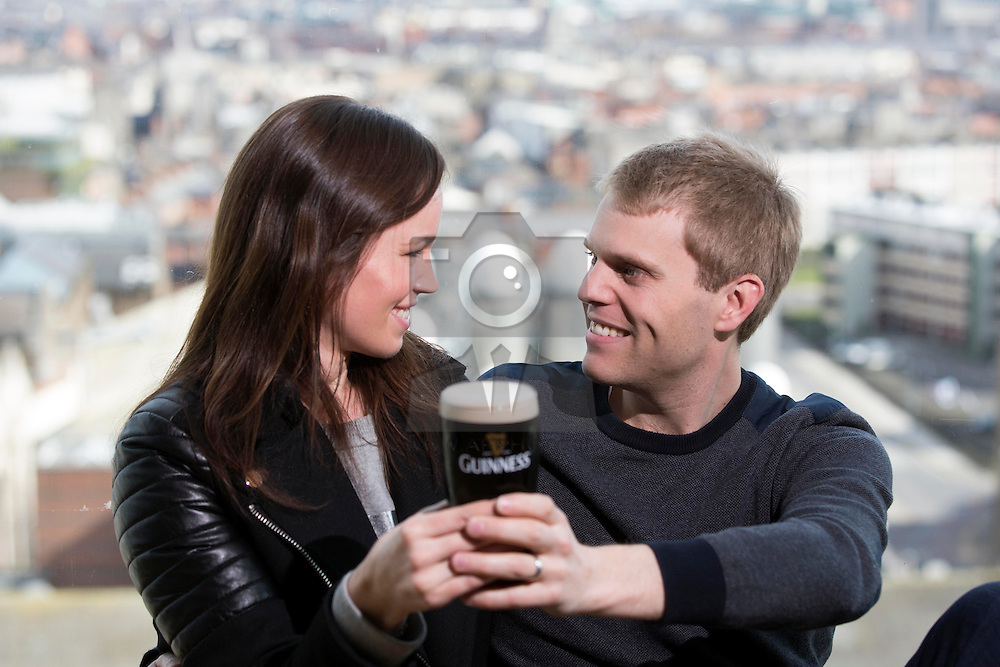 Repro Free: 15/03/2014 <br /> Davina and Mark Geels pictured at the Guinness Storehouse St. Patrick's Festival. The four day festival is showcasing some of Ireland's best music, food and rugby over the weekend including and the ultimate rugby hub with a live broadcast by Newstalk Off The Ball. Enjoy GUINNESS sensibly. Visit drinkaware.ie Picture Andres Poveda