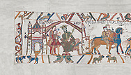 Bayeux Tapestry scene 1 : Edward The confessor send Harold to inform William he will succeed to English Throne. , BYX1<br /> <br /> If you prefer you can also buy from our ALAMY PHOTO LIBRARY  Collection visit : https://www.alamy.com/portfolio/paul-williams-funkystock/bayeux-tapestry-medieval-art.html  if you know the scene number you want enter BXY followed bt the scene no into the SEARCH WITHIN GALLERY box  i.e BYX 22 for scene 22)<br /> <br />  Visit our MEDIEVAL ART PHOTO COLLECTIONS for more   photos  to download or buy as prints https://funkystock.photoshelter.com/gallery-collection/Medieval-Middle-Ages-Art-Artefacts-Antiquities-Pictures-Images-of/C0000YpKXiAHnG2k