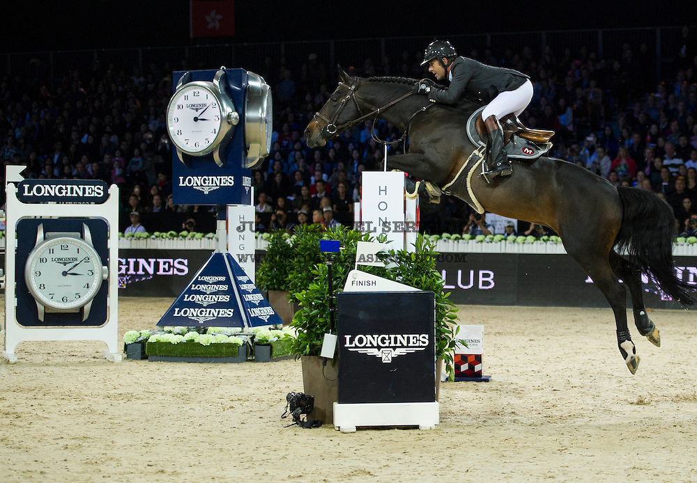 Philippe Rozier on Unpulsion de la Hart competes during Longines Grand Prix at the Longines Masters of Hong Kong on 21 February 2016 at the Asia World Expo in Hong Kong, China. Photo by Juan Manuel Serrano / Power Sport Images