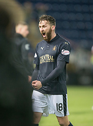 Ref Alan Newlands doesn't give Falkirk's Lee Miller the match ball after he scored a hat-trick.<br /> Falkirk 4 v 1 Fraserburgh, Scottish Cup third round, played 28/11/2015 at The Falkirk Stadium.