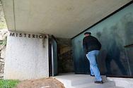 Monk shepherd Nikolas Segurola goes into Misterioa at the monastery of Arantzazu in the Basque Country on 16th November, 2009. Misterioa is a meditation space opened to any visitor of the monastery and around. Nikolas Segurola has been shepherds teacher for years at the Shepherds School of Arantzazu. (Ander Gillenea / Bostok Photo)