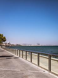 THEMENBILD - die Strandpromenade und die Hafenanlage der Stadt an einem heissen Sommertag, aufgenommen am 16. August 2018 in Larnaka, Zypern // the beach promenade and the harbor of the city on a hot summer Day, Larnaca, Cyprus on 2018/08/16. EXPA Pictures © 2018, PhotoCredit: EXPA/ JFK