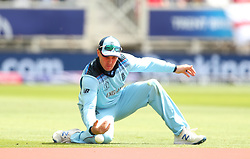 England's Jason Roy drops a catch from Pakistan's Mohammad Hafeez during the ICC Cricket World Cup group stage match at Trent Bridge, Nottingham.
