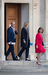 © Licensed to London News Pictures. 31/05/2017. Cambridge, UK. Plaid Cymru Leader Leanne Wood (R) walks with Home Secretary Amber Rudd and UKIP's Paul Nuttall into the leaders TV debate at Senate House, Cambridge. Recent polls have show a closing in the gap between the Labour Party and Conservative Party, in what was expected to be a landslide general election victory for the Conservatives. Photo credit: Peter Macdiarmid/LNP