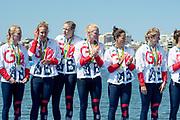 "Rio de Janeiro. BRAZIL   Women's Eights Final. Silver Medalist GBR W8+. Bow. Katie<br /> GREVES, Melanie  WILSON, Frances HOUGHTON, Polly  SWANN,  Jessica EDDIE,  Olivia CARNEGIE-BROWN, Karen BENNETT, Zoe LEE and  Zoe DE TOLEDO, 2016 Olympic Rowing Regatta. Lagoa Stadium, Copacabana,  ""Olympic Summer Games""<br /> Rodrigo de Freitas Lagoon, Lagoa. Local Time 11:47:57  Saturday  13/08/2016<br /> [Mandatory Credit; Peter SPURRIER/Intersport Images]"