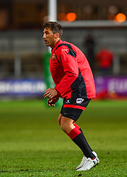 Dragons' Gavin Henson during the pre match warm up<br /> <br /> Photographer Craig Thomas/Replay Images<br /> <br /> EPCR Champions Cup Round 4 - Newport Gwent Dragons v Newcastle Falcons - Friday 15th December 2017 - Rodney Parade - Newport<br /> <br /> World Copyright © 2017 Replay Images. All rights reserved. info@replayimages.co.uk - www.replayimages.co.uk