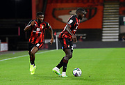 Jefferson Lerma (8) of AFC Bournemouth and Nnamdi Ofoborh (24) of AFC Bournemouth during the EFL Cup match between Bournemouth and Crystal Palace at the Vitality Stadium, Bournemouth, England on 15 September 2020.