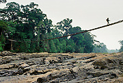 Armed guard on footbridge leading to the Korup Rainforest in Cameroon, West Africa