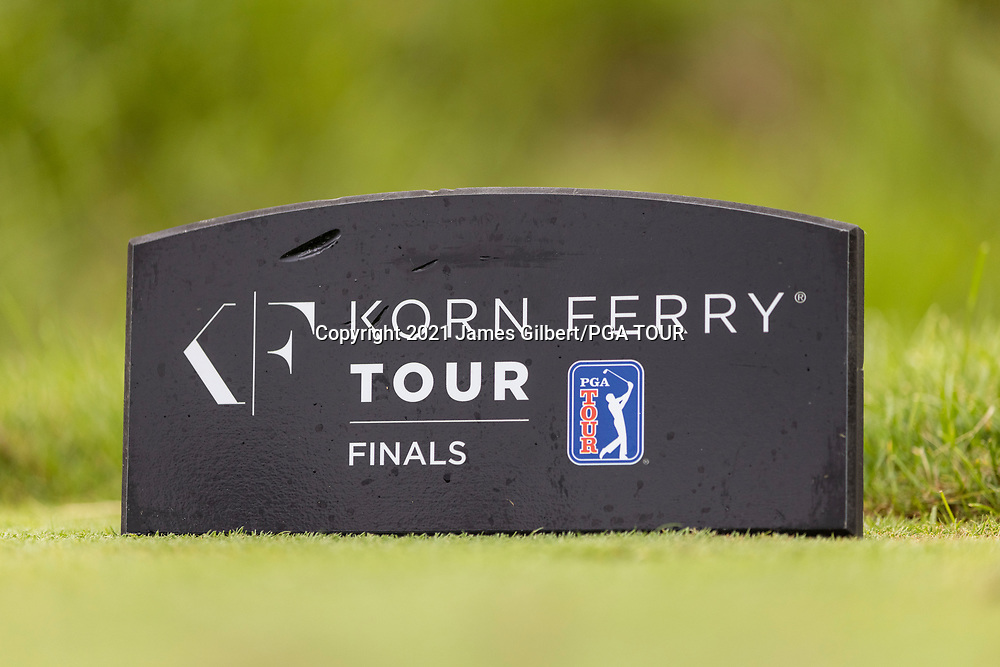 NEWBURGH, IN - SEPTEMBER 04: A detail view of a tee marker on the 11th hole during the third round of the Korn Ferry Tour Championship presented by United Leasing and Financing at Victoria National Golf Club on September 4, 2021 in Newburgh, Indiana. (Photo by James Gilbert/PGA TOUR via Getty Images)