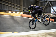 during practice at the 2019 UCI BMX Supercross World Cup in Manchester, Great Britain